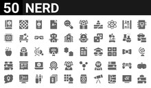 50 Icon Pack Of Nerd Web Icons. Filled Glyph Icons Such As Books,science Book,idea,books,gravity,cpu,rubik?s Cube,exam. Vector Illustration