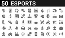 50 Icon Pack Of Esports Web Icons. Filled Glyph Icons Such As Upgrade,buff,player,controller,game Controller,worldwide,arcade Machine,vr Glasses. Vector Illustration