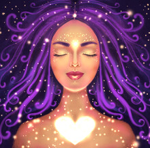 Illustration Of A Beautiful Woman On A Dark Background With A Shining Heart. Symbol Of Self-love, Spiritual Awakening And Intuition