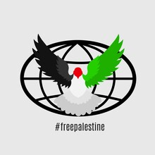 Illustration Vector Graphic Of Free Palestine Perfect For Apparel,Banner Design With Solidarity Theme.Dove Symbol Of Peace