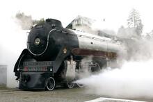 The Royal Hudson, A Steam Powered Train Locomotive Engine.  Squamish BC, Canada.