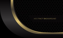 Abstract Gold Black Metallic Geometric Curve Overlap Speed On Dark Grey Circle Mesh Design Modern Luxury Futuristic Technology Background Vector Illustration.