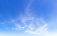 Blue Sky And Light Thin Clouds. Feather Clouds.