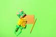 Leinwandbild Motiv Beautiful daffodils, gift box and blank card on color background