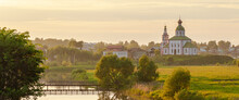 Summer Sunset In Old Russian Town Of Golden Ring Called Suzdal. Beautiful Landscape, Orthodox Church On The Hill.