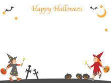 ハロウィンで魔女の仮装をする子供のフレーム素材
