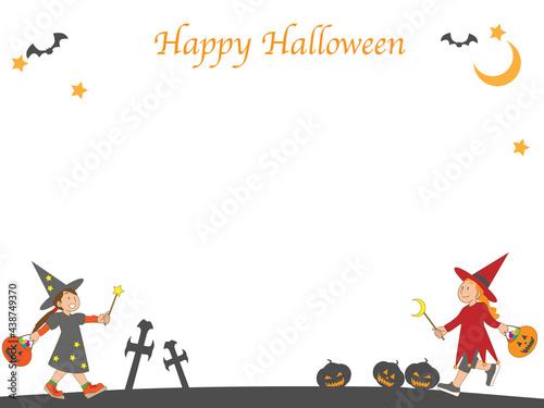 Tableau sur Toile ハロウィンで魔女の仮装をする子供のフレーム素材