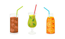 Fresh Refreshing Summer Cocktails With Ice Cubes And Sliced Fruits And Berries In Glass And Jar With Straw Vector Set