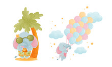 Cute Blue Elephant Character Standing Under Palm Tree And Flying With Balloon Bunch Vector Set