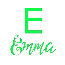 Emma Digital Handwritten Baby Girl Name In A Light Green Mint Color. Luxury Calligraphy, Wall Decor, Printing O T-shirt, Postcard