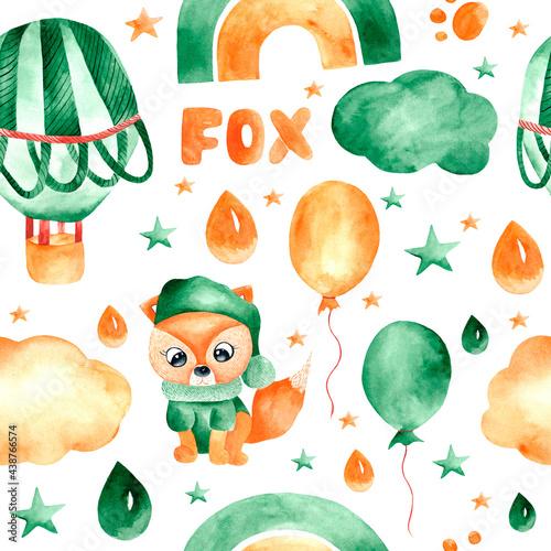 Tapety Skandynawskie  bezszwowy-wzor-akwarela-z-balonami-lisami-teczami-chmurami-i-gwiazdami-ilustracja-dziecieca-z-balonami-lisami-na-niebie-do-dekoracji-odziezy-dzieciecej-tkanin-pokoi