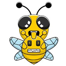 Vector Simple Bee Mascot Cartoon Character Riding A Bee Robot