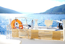 Sunny Aft Deck Of The Catamaran At Sea During Sunny Day