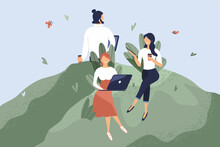 Office Workers Sitting On Green Lawn. Concept Of Good Comfortable Environment At Work, Favorable Psychological Climate,high Pay And Freedom Of Creativity For Employees. Vector Flat Illustration