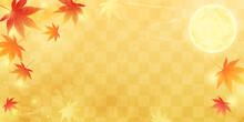 秋の満月と紅葉の和風で美しい市松模様のベクターイラストフレーム(背景、お月見)