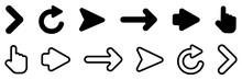 Arrow. Arrows Vector Icons Collection. Arrow Black, Isolated. Set Of Cursor. Arrows In Modern Simple Design. Vector Illustration