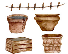 Watercolor Garden Pots On White Background. Brown Wooden Pots And Basket. Gardening Clipart