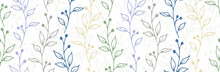 Berry Bush Twigs Organic Vector Seamless Ornament. Gentle Herbal Textile Print. Garden Plants Leaves And Stems Illustration. Berry Bush Branches Sketch Repeating Design