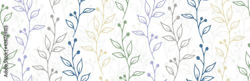 Fotografia Berry bush twigs organic vector seamless ornament