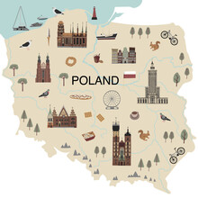Vector Color Hand Drawn Illustrated Map Of Poland. Traditional Buildings, Street Food, Transport, Animals, Birds And Symbols. Bright Design For Tourist Posters, Banners, Prints