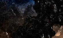 Black Volcanic Rock With Red Lava Veins. Background Texture Of A Rocks. Mandelbulb Fractal Rocks.