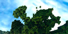 Island Of Fractal Greenery Flying In The Sky Against The Background Of Clouds