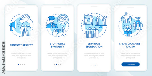 Valokuva Confronting racism onboarding mobile app page screen