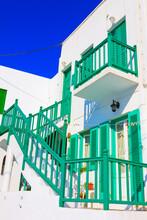 Greeen Wooden Frames By Side Mykonos Island Greece Cyclades