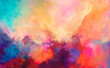 Bright picturesque watercolor painting with paint splash elements