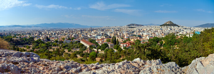 ATHENE,GREECE-JUNE 7,2021:Panoramic view of Athens from the Parthenon