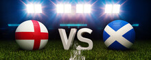 2020 Euro Football Tournament. Football With National Flags Of England And Scotland. Stadium In Background. 3d Rendering. Soccer Match.