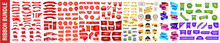 Red Ribbon Of Price Tag, Sale Promo, New Offer Vector Bundle Set. Red Ribbon Of Price Tag, Sale Promo, New Offer Vector Bundle Set. Shopping Sales And Discounts Promotional Labels Vector Set.Price Tag