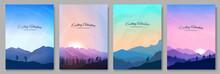 Vector Illustration. Landscapes Set. Travel Concept Of Discovering, Exploring And Observing Nature. Hiking. Adventure Trekking Tourism. People Walks. Design For Poster, Book Cover, Banner, Layout