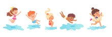 Children Jumping Into Water On Summer Vacations Set. Little Boys And Girls Having Fun Vector Illustration. Kids Spending Holidays In Seaside Or Swimming Pool On White Background
