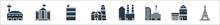 Building Glyph Icons. Filled Vector Icons Such As Eiffel Tower, Small House, Satellite Station, Factory, Lighthouse, Motel Symbol, White House Sign Isolated On White Background.