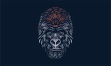 Mountain Gorilla Portrait On Dark Background
