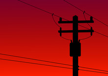 High Voltage Electric Pole And Transformer With Orange Background Copy Space Shadow Silhouette Evening Flat Vector.