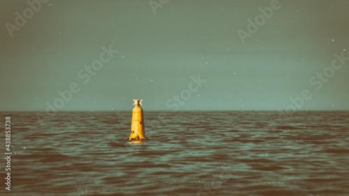 Fotografiet Orange and Teal Retro Look of Yellow Buoy in the Irish Sea