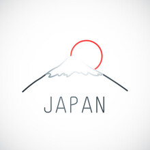 Mount Fuji Kyoto And Red Sun. Japan Simple Emblem In Line Style. Vector Illustration.