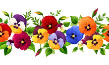 Vector Horizontal Seamless Border With Red, Orange, Yellow, Blue And Purple Pansy Flowers.
