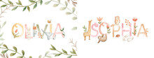 Watercolor Alphabet Baby Names For Nursery With Cute Animals Illustration