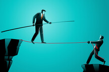 Vector Illustration Of Business Concept, Businessman Walking On Rope Assist By His Friend