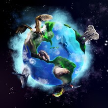 Planet Earth With Animals