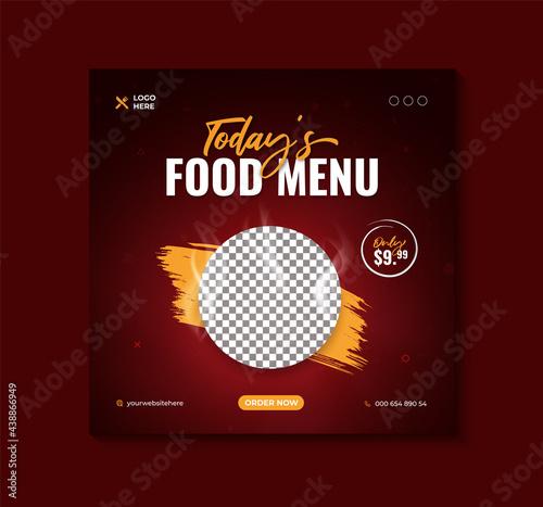 Delicious today's food menu banner or social media post template Premium Vector Fototapeta