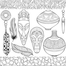Set Of Various African Ethnic Objects. Jewelry, Vases, Wooden Masks, Zebra And Giraffe Skin Border. African American Tribal, Aztec Style. Line Art Hand Drawn Isolated. Boho Illustration. Coloring Book