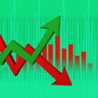 Leinwandbild Motiv 3d illustration inflation and deflation graph