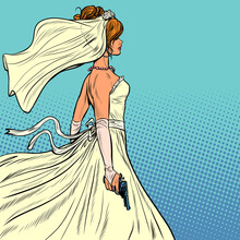 Beautiful Bride In A Wedding Dress And A Gun