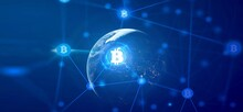 Bitcoin The Future Coin. Bitcoin Gold Coin And Virtual Cryptocurrency Concept.