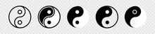 Yin Yang Icon Set. Harmony And Balance Sign On White Background. Black And White Taoism Symbol. Isolated Vector Illustration.