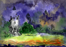 Castle In The Night Fog. A Fairytale Fortress In A Magical Forest. Watercolor Illustration.